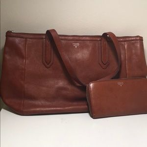 Brown Fossil Matching Purse and Wallet Set
